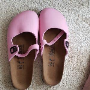 Pink Birkis mary janes